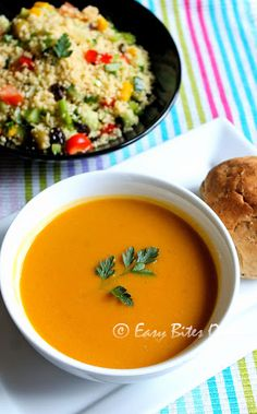 Butternut Squash Sweet Potato Soup With Couscous Salad Recipe on Yummly. @yummly #recipe