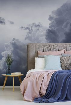 Our dreamy cloud print wallpaper collection ticks all the boxes. From the stillness of a spring morning to tempestuous weather brewing in the air, our range of cloud murals will transport you to another time and place. We have paste the wall or peel and stick wallpapers to choose from. Click to see our large collection of wall murals at wallsauce.com #wallmural # wallpaper Marble Effect Wallpaper, Cream Wallpaper, Cloud Wallpaper, Watercolor Wallpaper, Peel And Stick Wallpaper, Bedroom Wallpaper, Grey Furniture, Art Deco Furniture, Bedroom Murals
