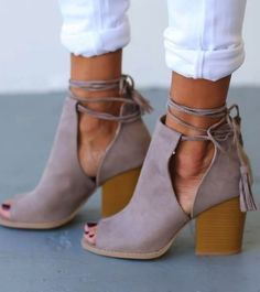 beautiful ankle strap leather stacked heel open toe booties.