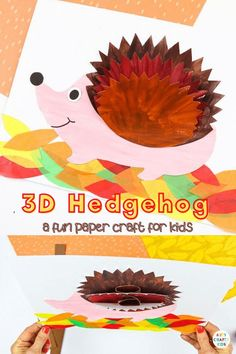 Kickstart the Autumn term with this adorable 3D Paper Hedgehog Craft. Our latest hedgehog craft joins a growing collection of 3D paper crafts; all designed to combine the creativity of craft, the interest of perspective and the fun of movement that capture the imaginations of younger and older children alike. Get the hedgehog craft template here! Fall Hedgehohg Craft for Kids | Fall Woodland Animal Crafts for Kids | Fall Crafts for kids Autumn | 3D Hedgehog Craft for Kids #FallCrafts Fall Crafts For Toddlers, Easy Fall Crafts, Thanksgiving Crafts For Kids, Easy Arts And Crafts, Halloween Crafts For Kids, Arts And Crafts Projects, Craft Activities For Kids, Class Projects, Craft Ideas
