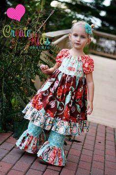 Marissa's Perfect Peasant Dress Pattern $8.00. These look so cute with coordinating/matching ruffle pants!