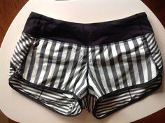 Lululemon Speed Shorts mint green black striped 4 #Lululemon #Shorts