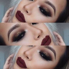 Glitter gold makeup with deep red lipstick. Gorgeous makeup Barbarabeauté Barbarabeaute