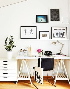A stylish home office with IKEA Glasholm Finnvard Table looks super chic with its statement sawhorse legs.