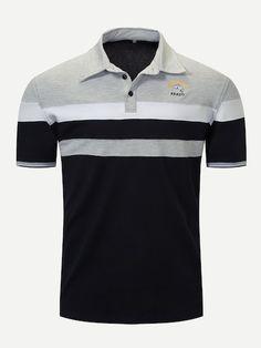 Men Embroidery Cut And Sew Panel Polo Shirt -SheIn(Sheinside) T Shirt Logo Design, Polo Shirt Design, Shirt Designs, Polo Fashion, Mens Fashion, Polo Bordado, Mens Striped Sweater, Polo Tees, Men's Polo
