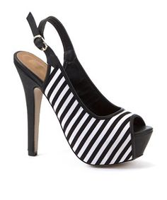 black and white striped shoes   Black Pattern (Black) Black and White Stripe Peep Toe Heels ...