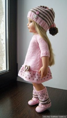 Discussion on LiveInternet - Russian Online Diary Service Knitting Dolls Clothes, Baby Doll Clothes, Crochet Doll Clothes, Knitted Dolls, Doll Clothes Patterns, Crochet Dolls, Baby Dolls, Vestidos Bebe Crochet, Ropa American Girl