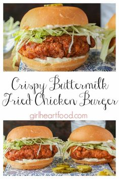 Sandwich recipes 412783122098765997 - This fried Crispy Chicken Burger is juicy and delicious! A buttermilk soaked chicken breast is double dredged in a spiced coating. This delicious chicken sandwich hits the spot every time! Source by Crispy Chicken Burgers, Chicken Burger Recipes, Buttermilk Fried Chicken Sandwich Recipe, Crispy Chicken Wraps, Hot Sandwich Recipes, Recipes With Buttermilk, Homemade Chicken Burgers, Chicken Fillet Recipes, Chicken Sandwhich