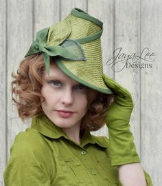 Green Leaf Tilt Hat 1930's 1940's Style Straw by GreenTrunkDesigns