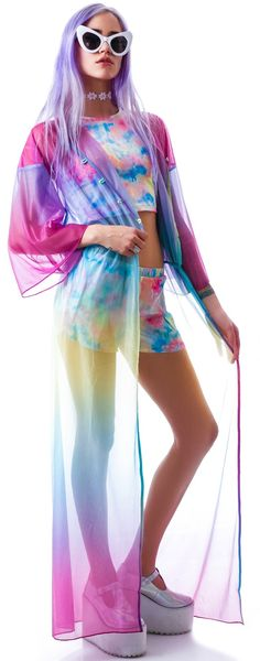 UNIF Dream Dress | Dolls Kill rainbow sheer see through jacket kimono maxi pastel colourful festival summer style