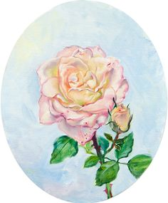 Rose in oval. Daria Galinski 2016 - Oil on canvas/ cardboard (oval) - 20 x 25 cm.  #rose #oilpainting #artwork #oval #art #white #flowers