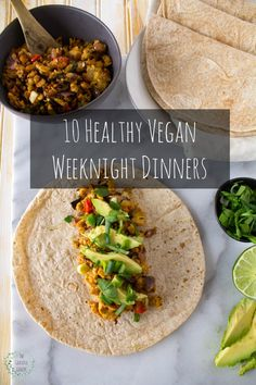 10 Healthy Vegan Weeknight Dinner Recipes on The Grateful Grazer.
