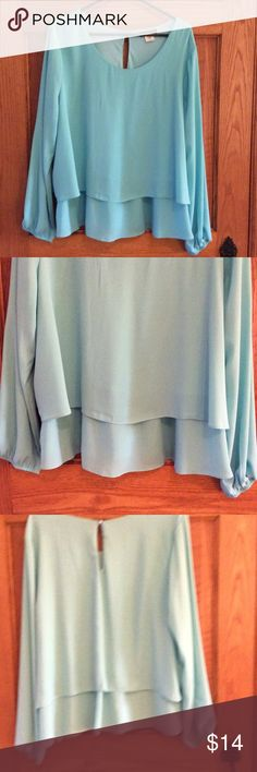 Aqua blue blouse 100 polyester bluish green blouse. Long sleeves with elastic at sleeve hem. Two layers on bodice. Key hole button closure in back. Excellent condition. ink Tops Blouses
