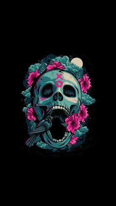 Skull skull wallpaper for android Skull Wallpaper Iphone, Kawaii Wallpaper, Dark Wallpaper, Galaxy Wallpaper, Wallpaper Backgrounds, Wallpaper Caveira, Graphic Design Illustration, Illustration Art, Dope Wallpapers