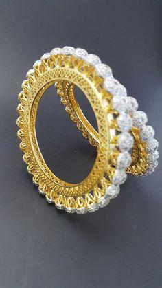 Gold Cubic Zircon Bangle – Sivah Fashion