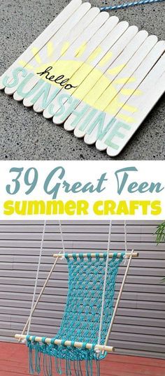 We've got 39 Great Teen Summer Crafts you can make by yourself or with friends, just as long as you have fun. Here are some summer crafts to cut the bore and beat the heat! diy for teens 39 Great Teen Summer Crafts - A Little Craft In Your Day Teen Summer Crafts, Crafts For Teens To Make, Diy Projects For Teens, Diy For Teens, Kids Crafts, Wood Crafts, Kids Diy, Diy Summer Projects, Decor Crafts