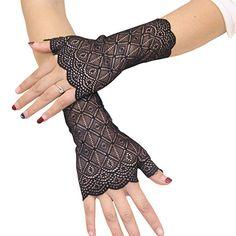 4cbb5234b06 FloYoung Women Bridal Short Lace Half Finger Party Dress Gloves Black at  Amazon Women s Clothing store
