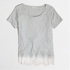 Just got this T in black and it's perfect.  just a little girly with the lace detail, cut well, and i can dress it up or dress it down.
