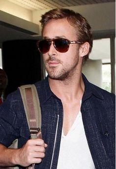 Ryan Gosling wears Persol's PO0714 52 Polarized Suprema Foldable Sunglasses