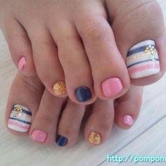 Summer Toe Nail Art! I love the use of color! #nails #pedicure #nailart
