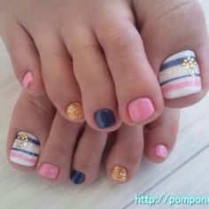 Summer Toe Nail Art! I love the use of color! #nails #pedicure #nailart