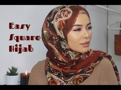 Square hijab styles are great for their versatility. You can do lots of full-coverage styles and even niqab styles with this shape. Square Hijab Tutorial, Turban Tutorial, Easy Hijab Style, Simple Hijab, Niqab Fashion, Muslim Fashion, Scarf Updo, Scarf Packaging, Making Scarves