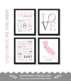 pink gray nursery girl birth announcement baby girl nursery decor new baby girl gift personalized birth details girls birth stats baby print by PinkeeHome