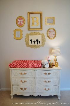 I like the dresser with changing pad on top. Easy access to diapers and most necessary items on top. Lamp is a nice touch.