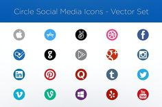 Circle Social Media Icons Vector Set by garrettgee on @creativemarket