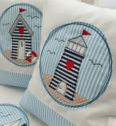 Patchwork Embroidery designs - ♥ Doodle Buttons * At the sea * embroidery file ♥ - a unique pr Applique Cushions, Pillow Embroidery, Embroidery Motifs, Sewing Pillows, Embroidery Files, Embroidery Designs, Embroidery Patches, Free Motion Embroidery, Free Machine Embroidery