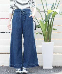 reca(レカ)の「編み上げベルト風デニムワイドパンツ(デニムパンツ)」です。このアイテム着用のコーディネートをチェックすることもできます。
