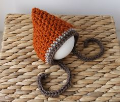 Orange, Tan, Brown Striped Fall Pixie - Crochet Knit Hat Baby Bonnet for Boy or Girl - Newborn - Ready to Ship. $18.00, via Etsy.