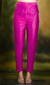 Burgundy Cigarette Pants Pencil Trousers Silk