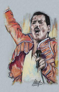 """""""Freddie Mercury"""" by Melanie D; Pastel Drawing"""