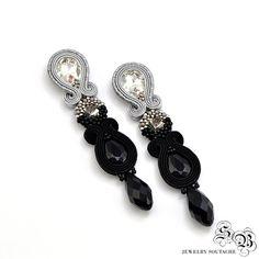 Long Dangle Earrings, Black Silver Earrings, Clip on earrings, Soutache Earrings, Beading Earrings, Orecchini Soutache, Ohrringe soutache by SBjewelrySoutache on Etsy
