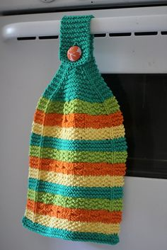Love this!.....Hot Stripes Hanging Dish Towel and Hot (Diagonal) Stripes Dishcloth by Allyson Dykhuizen