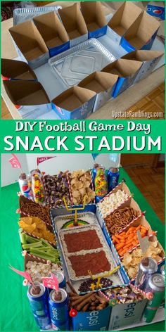 Ultimate in sports party entertaining – check out this Football Snack Stadium made with Soda Cartons! The easy DIY Module …, The Ultimate Sports Party Pleasure – Watch This Football Snack Stadium With Soda Boxes! The simple DIY Modular Snack Stadium is … Diy Snacks, Game Day Snacks, Snacks Für Party, Game Day Food, Party Games, Diy Party Food, Party Appetizers, Sleepover Snacks, Party Food Bars