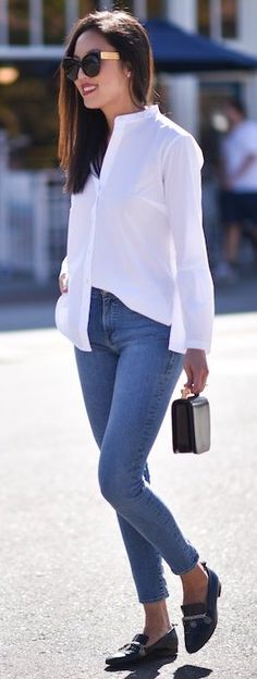#fall #trending #outfits | White Blouse + Denim