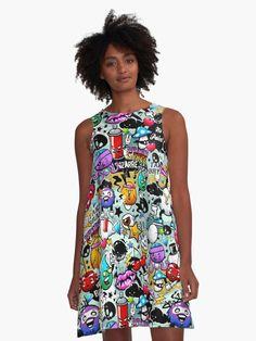 Beautiful summer dress. Super great fit for all body types.  (  #dress, #dresses, #dresspatterns, #dresslovers, #Alinedress, #summerdress #graffiti #streetstyle #casualdress )