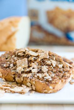 Cinnamon Toast Crunch French Toast - - Crunchy, rich and sweet, this french toast probably shouldn't become part of your regular breakfast routine, but you might not be able to resist! French Toast Cereal, French Toast Bake, Cinnamon Cereal, Cinnamon Toast Crunch, Cereal Recipes, Dessert Recipes, Dessert Ideas, Desserts, Chocolate Covered Bananas Frozen