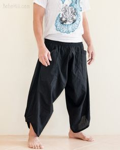 Ninja Style Samurai Harem Pants Warrior trousers (Solid Black)