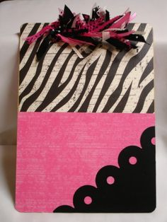 OOAK altered decorated clipboard HOT PINK by kuteklipboardsbyamy