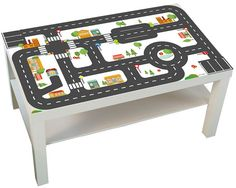Playing with a toy car, fire truck or police car on the streets is a lot of fun with this little table! Our furniture sticker offer an affordable
