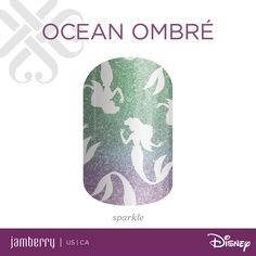OceanOmbre |  Bring fashion to your fingertips with Disney Princess Ariel's silhouette! With a bold sparkle ombre background, this wrap is a must-have addition to any collection.  #Disney #Jamberry