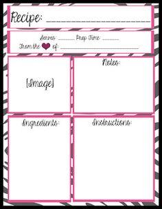 free recipe templates