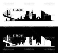 Ilustração de horizonte de Lisboa