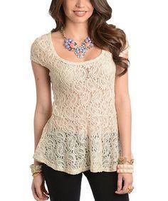 Look at this #zulilyfind! Cream Sheer Lace Peplum Top - Women by Buy in America #zulilyfinds