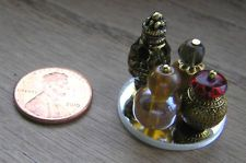 Miniature Dollhouse 4 Amber & Gold Perfume Bottles w/ Glass Mirror / 2