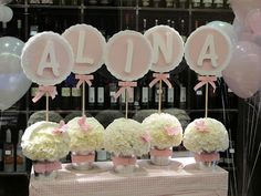 Para la mesa dulce o el candy bar Baptism ~ Joint Boy/Girl ~ Decorations ~ Names | Pink for Adaya's present table and Blues for Julian's present table.