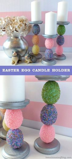 DIY Easter Decorations - Decor Ideas for the Home and Table - Easter Egg Candle Holder - Cute Easter Wreaths, Cheap and Easy Dollar Store Crafts for Kids. Vintage and Rustic Centerpieces and Mantel Decorations. http://diyjoy.com/diy-easter-decorations #artsandcraftsshop,